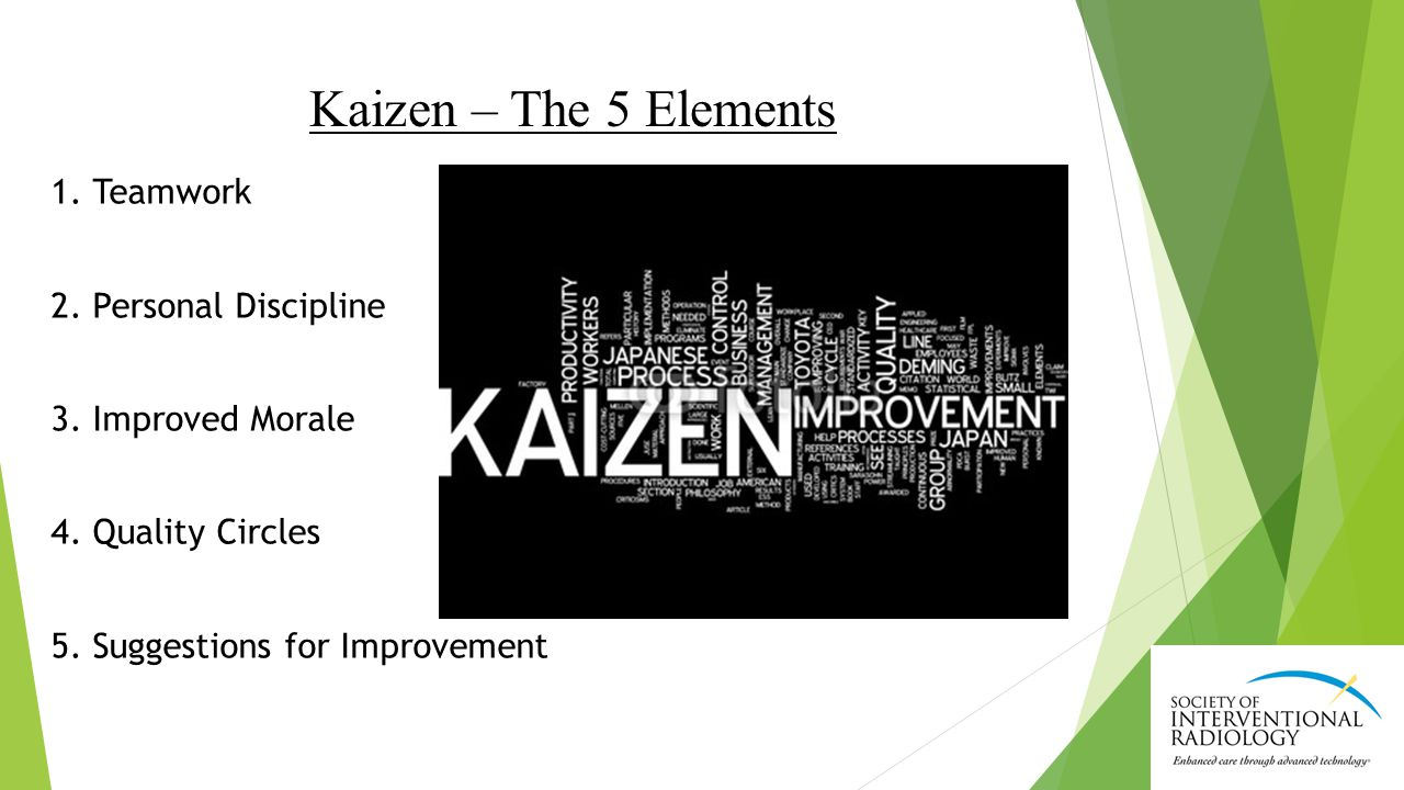 Kaizen – The 5 Elements 1. Teamwork 2. Personal Discipline 3.