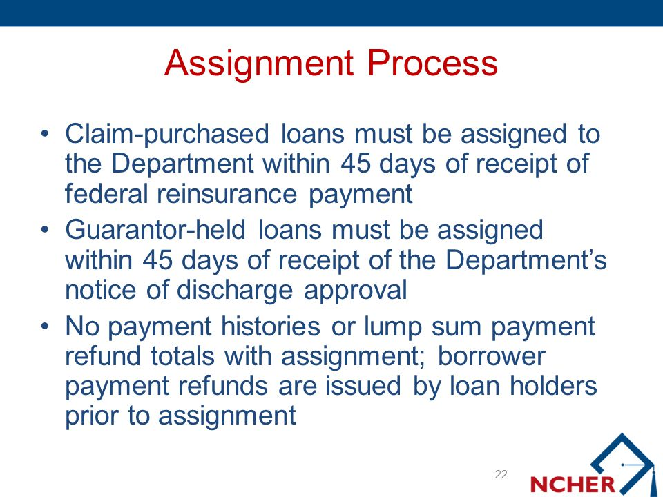 Assignment Process Claim-purchased loans must be assigned to the Department within 45 days of receipt of federal reinsurance payment Guarantor-held lo