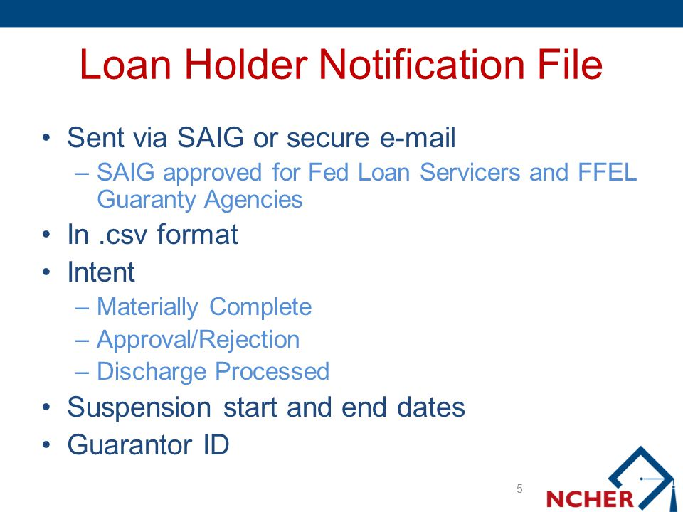 Loan Holder Notification File Sent via SAIG or secure e-mail –SAIG approved for Fed Loan Servicers and FFEL Guaranty Agencies In.csv format Intent –Ma