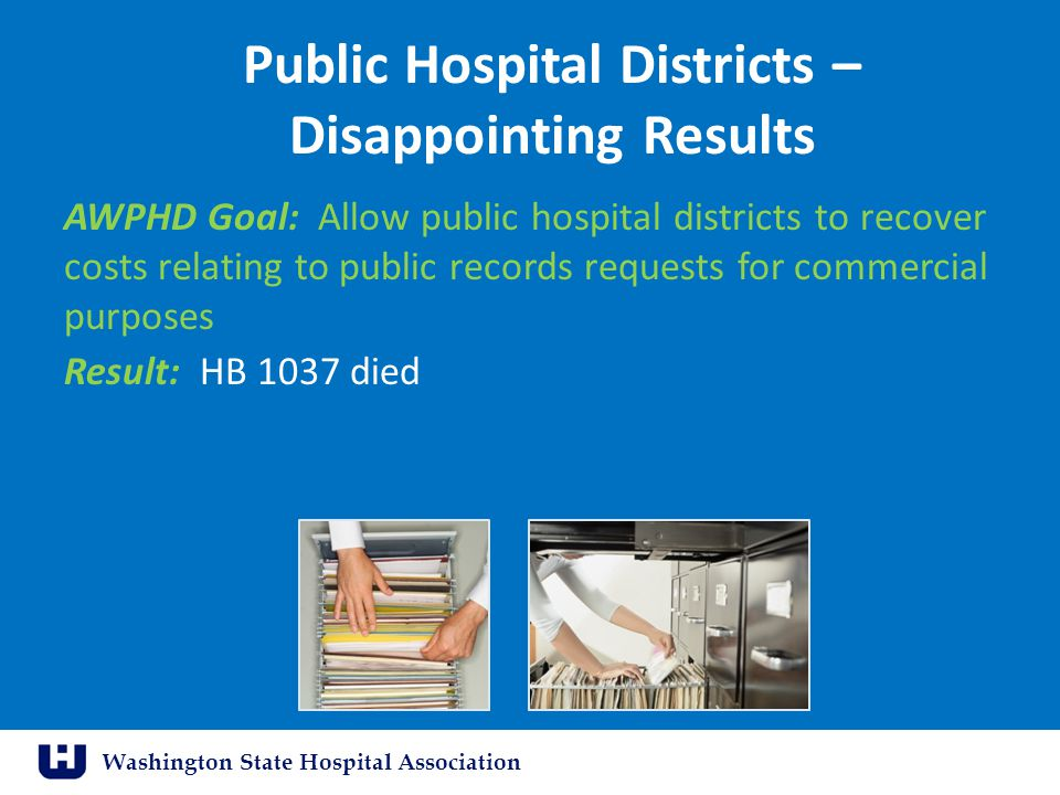 Washington State Hospital Association Public Hospital Districts – Disappointing Results AWPHD Goal: Allow public hospital districts to recover costs relating to public records requests for commercial purposes Result: HB 1037 died