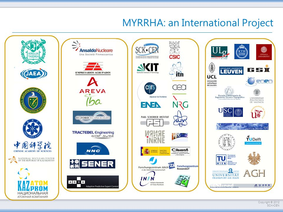 Copyright © 2012 SCKCEN MYRRHA: an International Project