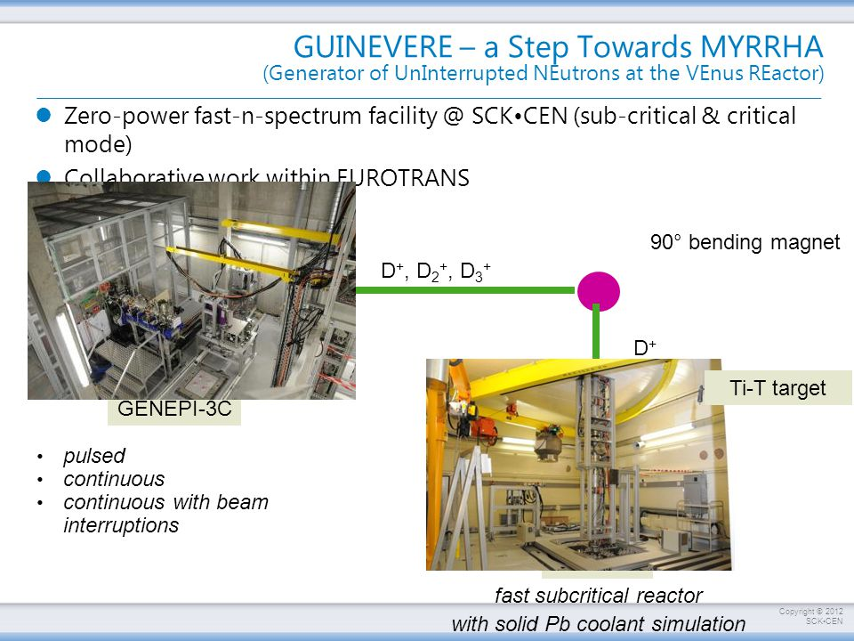 Copyright © 2012 SCKCEN GUINEVERE – a Step Towards MYRRHA (Generator of UnInterrupted NEutrons at the VEnus REactor) Zero-power fast-n-spectrum facility @ SCKCEN (sub-critical & critical mode) Collaborative work within EUROTRANS pulsed continuous continuous with beam interruptions D + source 90° bending magnet D +, D 2 +, D 3 + D+D+ 250 keV acc.