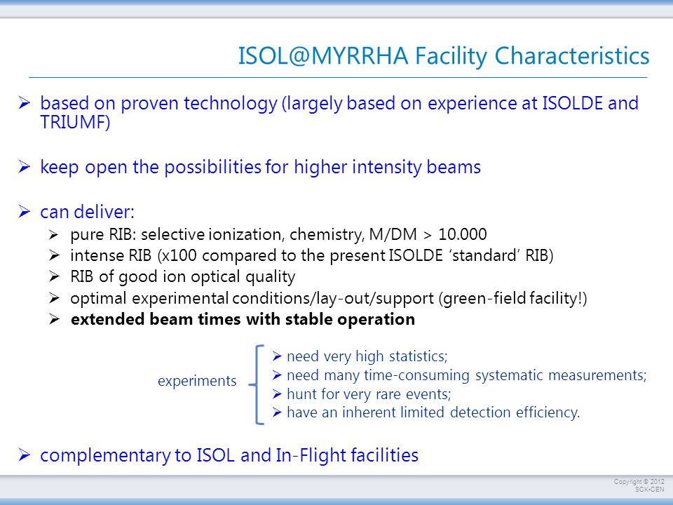Copyright © 2012 SCKCEN ISOL@MYRRHA Facility Characteristics  based on proven technology (largely based on experience at ISOLDE and TRIUMF)  keep open the possibilities for higher intensity beams  can deliver:  pure RIB: selective ionization, chemistry, M/DM > 10.000  intense RIB (x100 compared to the present ISOLDE 'standard' RIB)  RIB of good ion optical quality  optimal experimental conditions/lay-out/support (green-field facility!)  extended beam times with stable operation  need very high statistics;  need many time-consuming systematic measurements;  hunt for very rare events;  have an inherent limited detection efficiency.