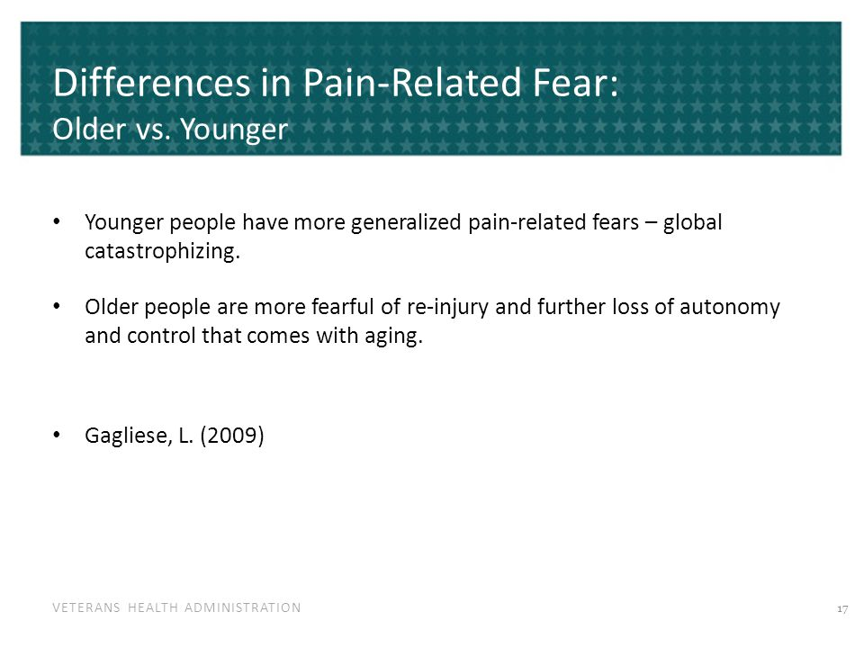 VETERANS HEALTH ADMINISTRATION Differences in Pain-Related Fear: Older vs. Younger Younger people have more generalized pain-related fears – global ca