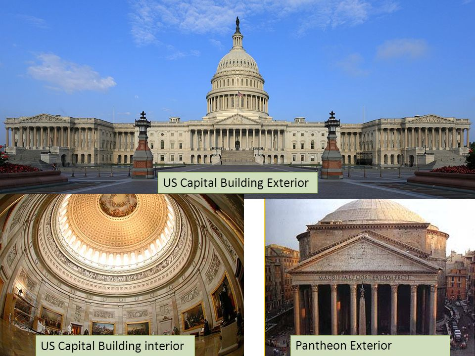 US Capital Building Exterior US Capital Building interior Pantheon Exterior