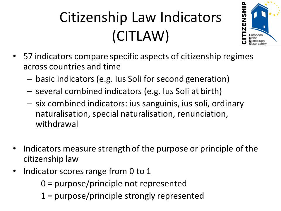 Citizenship Law Indicators (CITLAW) 57 indicators compare specific aspects of citizenship regimes across countries and time – basic indicators (e.g.