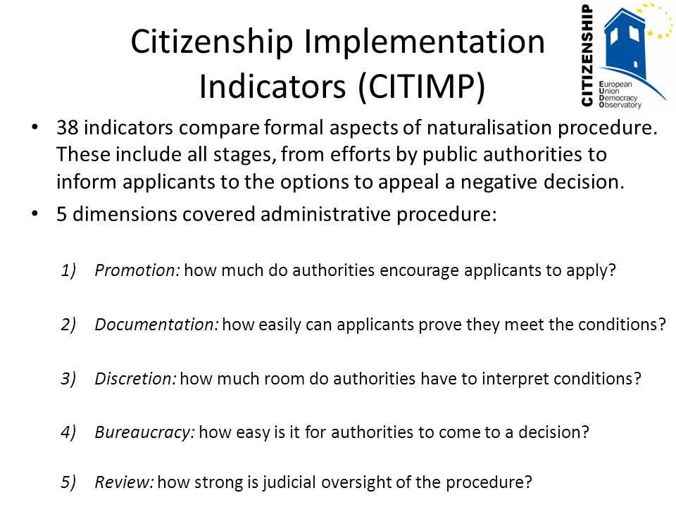 Summary of Findings Generally, countries with many legal obstacles (CITLAW) have many procedural obstacles (CITIMP)—Italy has some of greatest procedural obstacles