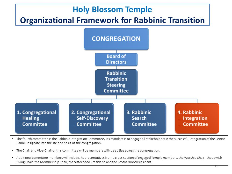 15 Holy Blossom Temple Organizational Framework for Rabbinic Transition The fourth committee is the Rabbinic Integration Committee.