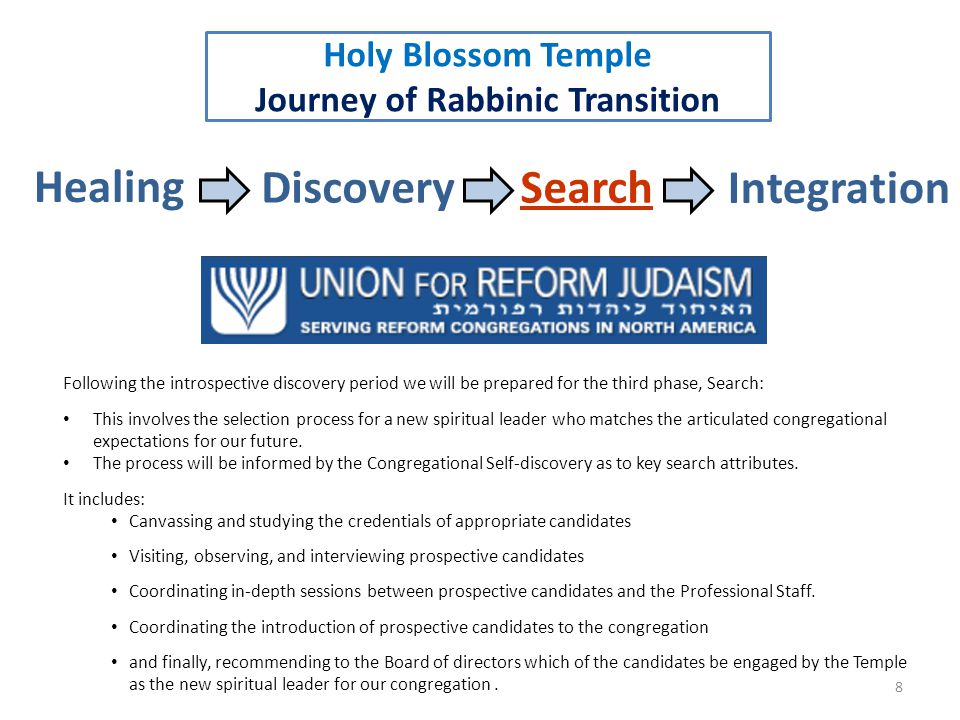 9 Healing DiscoverySearch Integration Holy Blossom Temple Journey of Rabbinic Transition The journey of Rabbinic transition does not end when a new spiritual leader is hired.