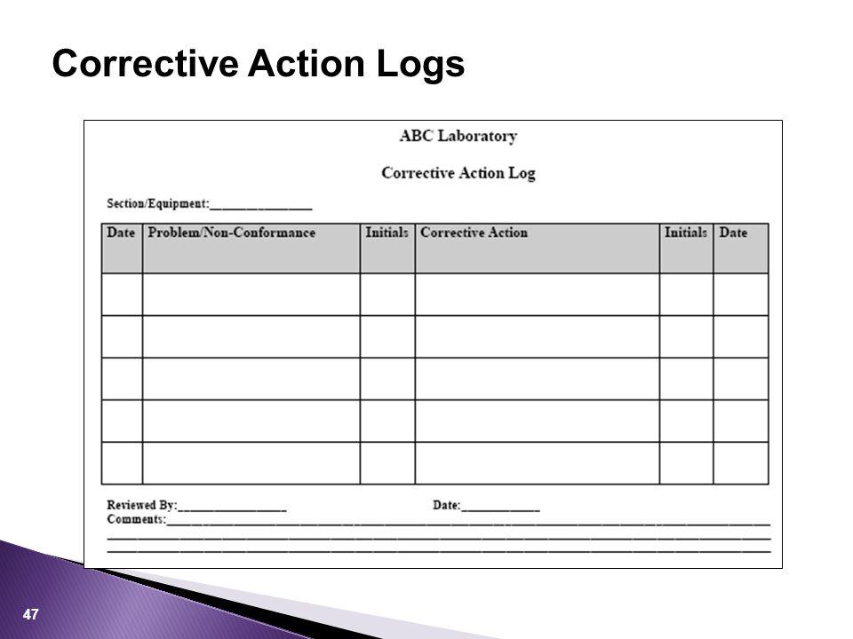 Corrective Action Logs 47