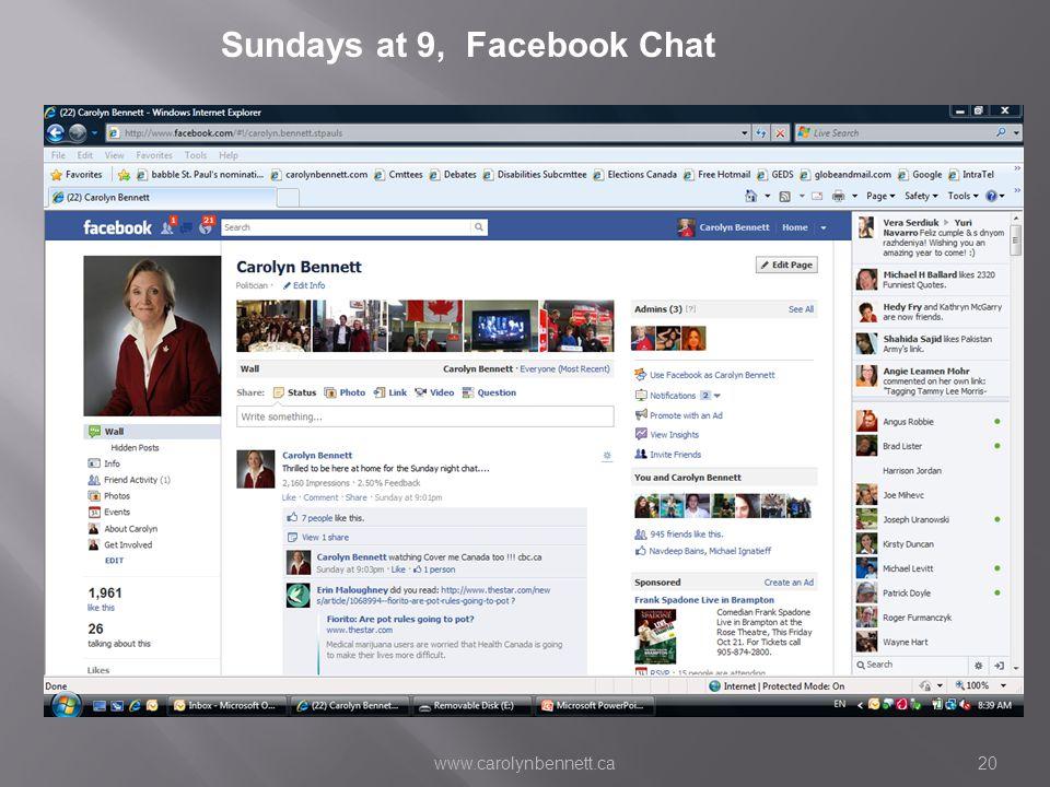 www.carolynbennett.ca20 Sundays at 9, Facebook Chat