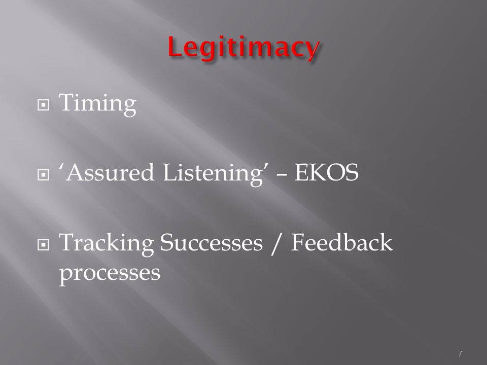 7  Timing  'Assured Listening' – EKOS  Tracking Successes / Feedback processes