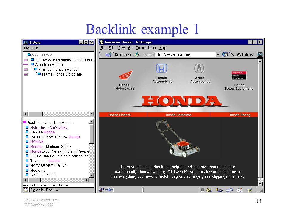 Soumen Chakrabarti IIT Bombay 1999 14 Backlink example 1