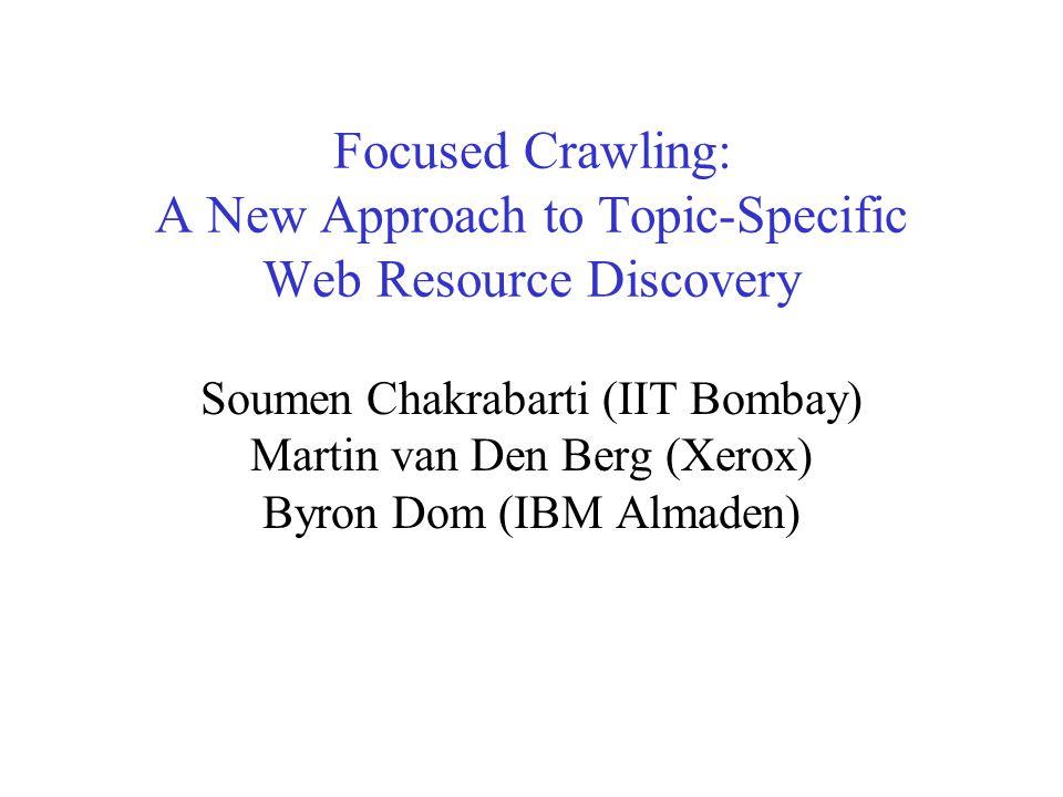 Soumen Chakrabarti IIT Bombay 1999 33 Monitoring the crawler Time Relevance One URL Moving Average