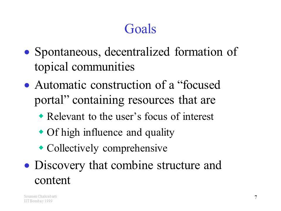 Soumen Chakrabarti IIT Bombay 1999 28 Classification  How relevant is a document w.r.t.