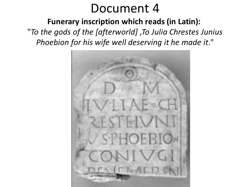 Document 4 Funerary inscription which reads (in Latin):