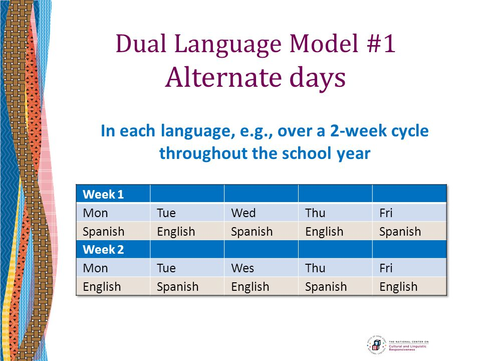 Dual Language Model #1 Alternate days In each language, e.g., over a 2-week cycle throughout the school year