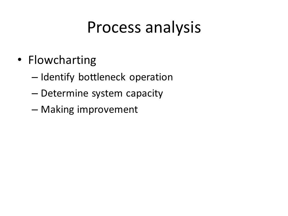 Process analysis Flowcharting – Identify bottleneck operation – Determine system capacity – Making improvement