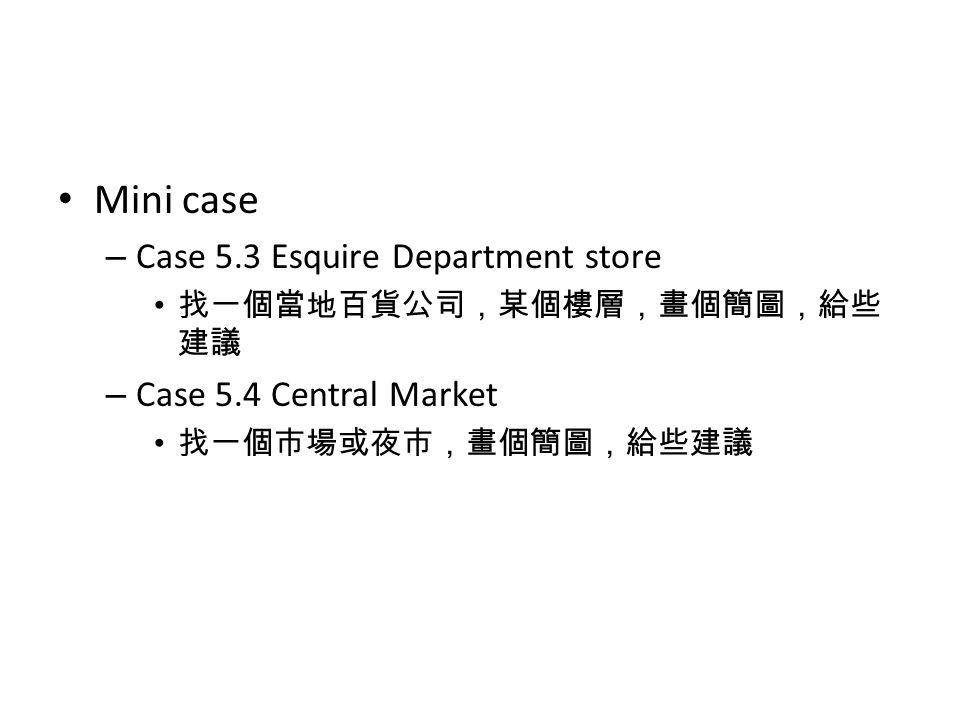Mini case – Case 5.3 Esquire Department store 找一個當地百貨公司,某個樓層,畫個簡圖,給些 建議 – Case 5.4 Central Market 找一個市場或夜市,畫個簡圖,給些建議