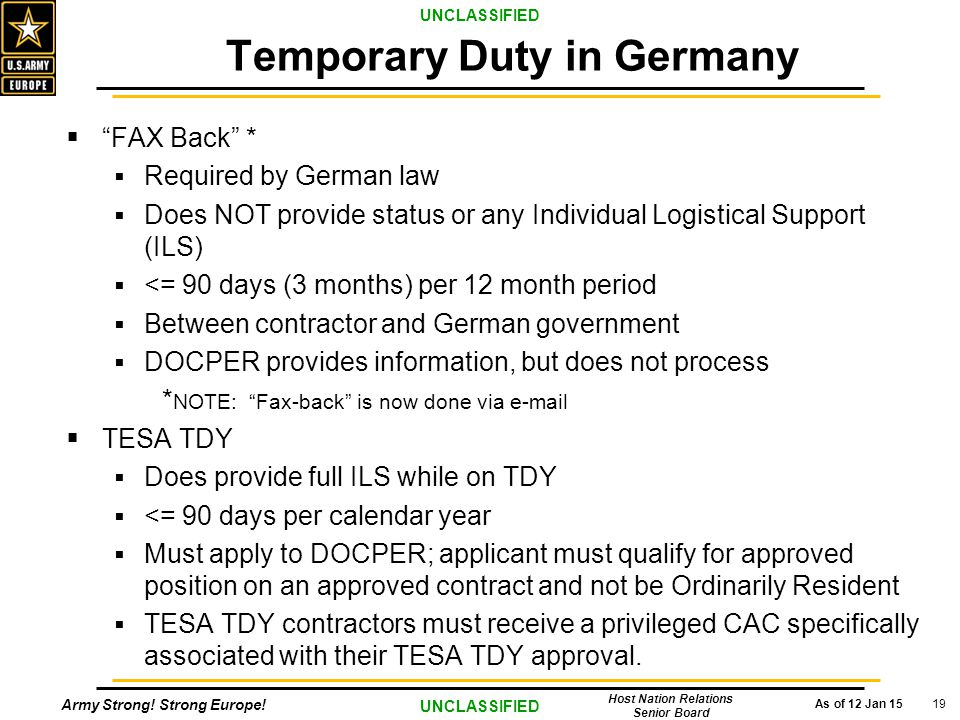 """Army Strong! Strong Europe! As of 12 Jan 15 UNCLASSIFIED Host Nation Relations Senior Board 19  """"FAX Back"""" *  Required by German law  Does NOT prov"""