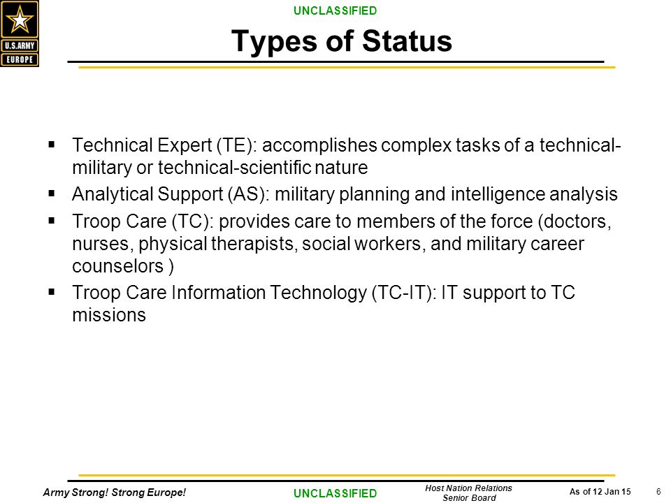Army Strong! Strong Europe! As of 12 Jan 15 UNCLASSIFIED Host Nation Relations Senior Board 6  Technical Expert (TE): accomplishes complex tasks of a