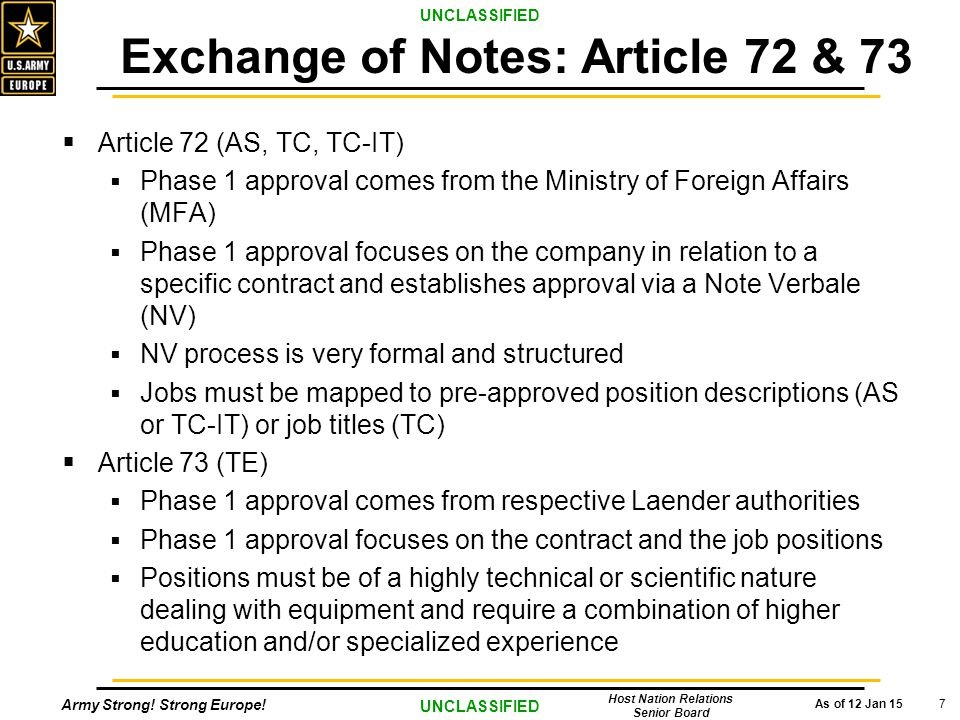 Army Strong! Strong Europe! As of 12 Jan 15 UNCLASSIFIED Host Nation Relations Senior Board 7  Article 72 (AS, TC, TC-IT)  Phase 1 approval comes fr