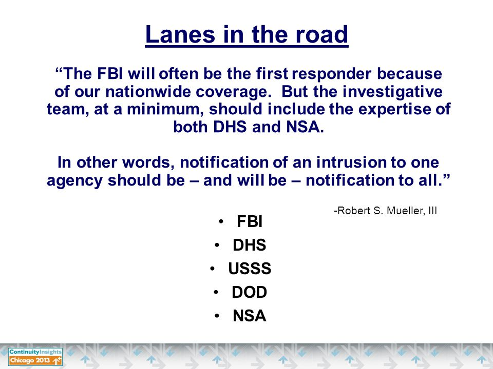 FBI DHS USSS DOD NSA Lanes in the road The FBI will often be the first responder because of our nationwide coverage.