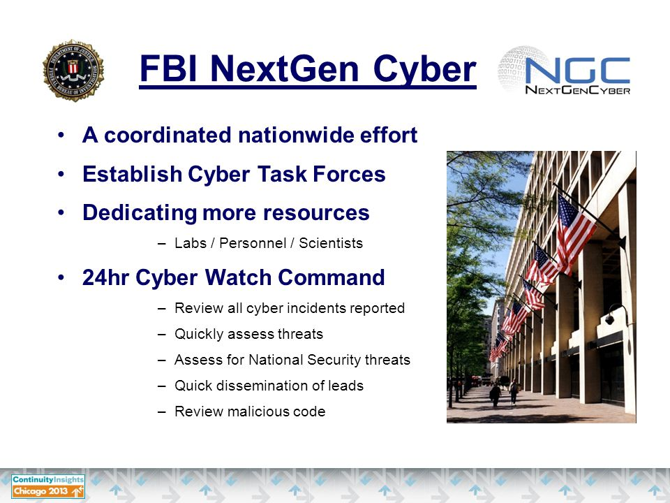 FBI NextGen Cyber A coordinated nationwide effort Establish Cyber Task Forces Dedicating more resources –Labs / Personnel / Scientists 24hr Cyber Watch Command –Review all cyber incidents reported –Quickly assess threats –Assess for National Security threats –Quick dissemination of leads –Review malicious code