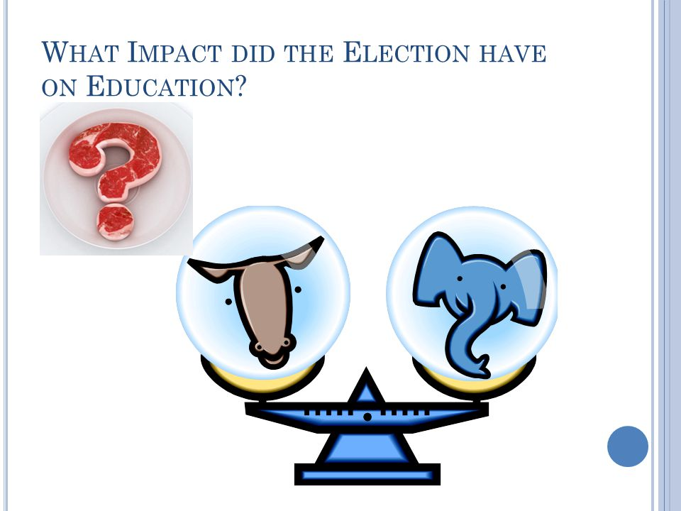 W HAT I MPACT DID THE E LECTION HAVE ON E DUCATION