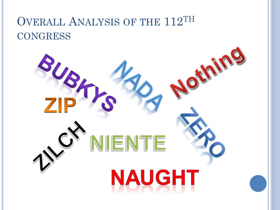 O VERALL A NALYSIS OF THE 112 TH CONGRESS