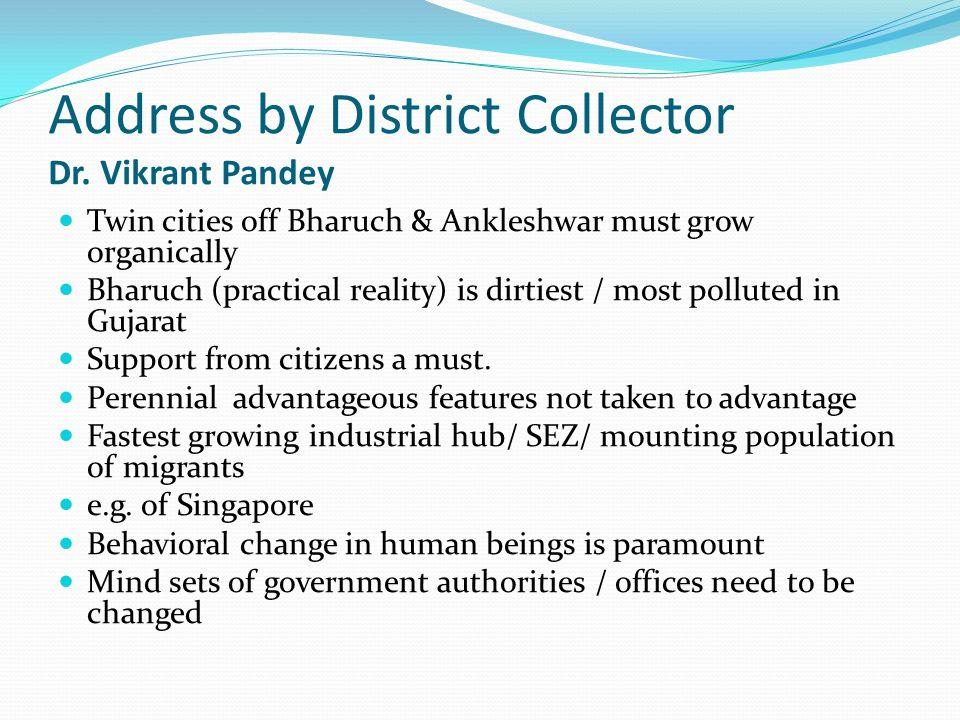 Address by District Collector Dr.