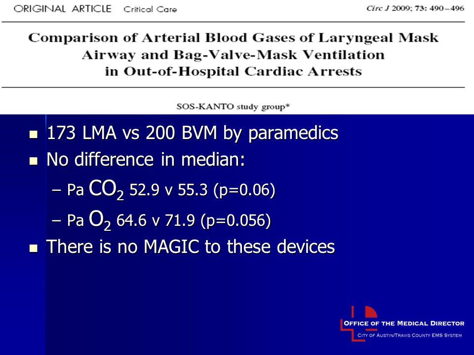173 LMA vs 200 BVM by paramedics 173 LMA vs 200 BVM by paramedics No difference in median: No difference in median: –Pa CO 2 52.9 v 55.3 (p=0.06) –Pa O 2 64.6 v 71.9 (p=0.056) There is no MAGIC to these devices There is no MAGIC to these devices