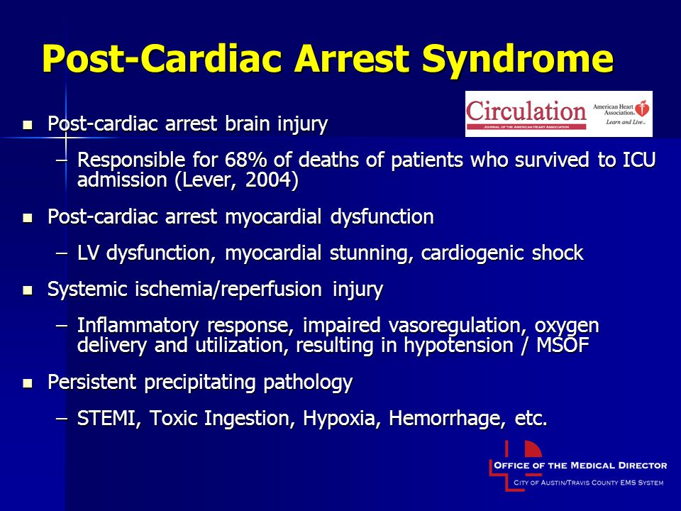 Post-Cardiac Arrest Syndrome Post-cardiac arrest brain injury Post-cardiac arrest brain injury –Responsible for 68% of deaths of patients who survived to ICU admission (Lever, 2004) Post-cardiac arrest myocardial dysfunction Post-cardiac arrest myocardial dysfunction –LV dysfunction, myocardial stunning, cardiogenic shock Systemic ischemia/reperfusion injury Systemic ischemia/reperfusion injury –Inflammatory response, impaired vasoregulation, oxygen delivery and utilization, resulting in hypotension / MSOF Persistent precipitating pathology Persistent precipitating pathology –STEMI, Toxic Ingestion, Hypoxia, Hemorrhage, etc.
