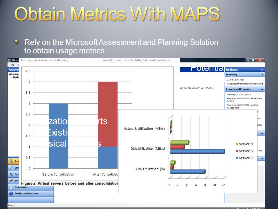 Rely on the Microsoft Assessment and Planning Solution to obtain usage metrics Potential Consolidation Results Utilization Reports on Existing Physical Servers