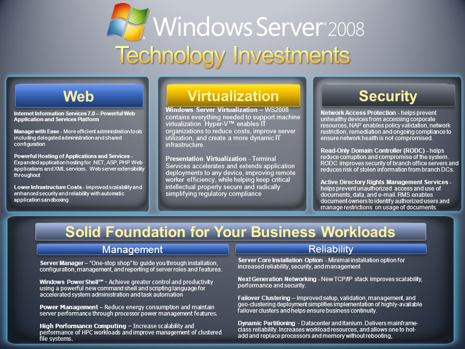 Web Solid Foundation for Your Business Workloads Virtualization Internet Information Services 7.0 – Powerful Web Application and Services Platform Manage with Ease - More efficient administration tools including delegated administration and shared configuration Powerful Hosting of Applications and Services - Expanded application hosting for.NET, ASP, PHP Web applications and XML services.