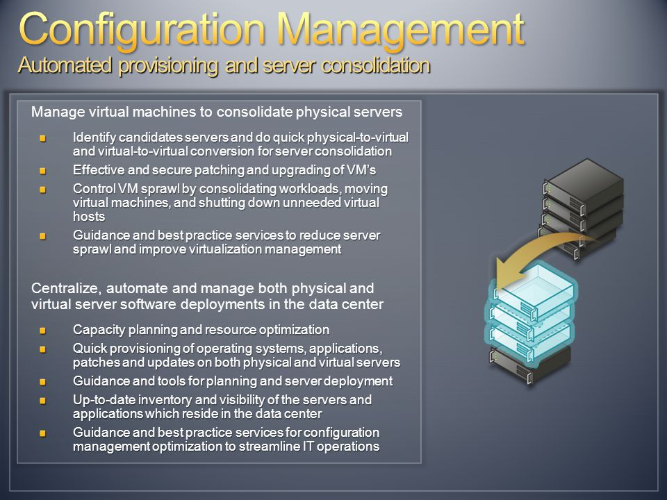 Manage virtual machines to consolidate physical servers Identify candidates servers and do quick physical-to-virtual and virtual-to-virtual conversion for server consolidation Effective and secure patching and upgrading of VM's Control VM sprawl by consolidating workloads, moving virtual machines, and shutting down unneeded virtual hosts Guidance and best practice services to reduce server sprawl and improve virtualization management Centralize, automate and manage both physical and virtual server software deployments in the data center Capacity planning and resource optimization Quick provisioning of operating systems, applications, patches and updates on both physical and virtual servers Guidance and tools for planning and server deployment Up-to-date inventory and visibility of the servers and applications which reside in the data center Guidance and best practice services for configuration management optimization to streamline IT operations