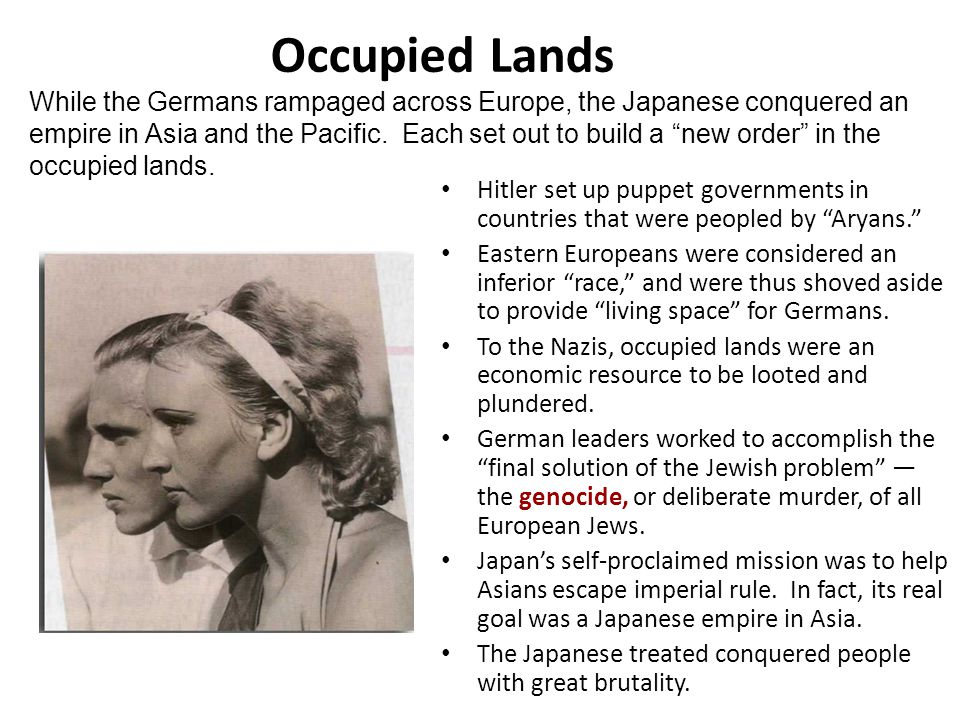 "Occupied Lands Hitler set up puppet governments in countries that were peopled by ""Aryans."" Eastern Europeans were considered an inferior ""race,"" and"