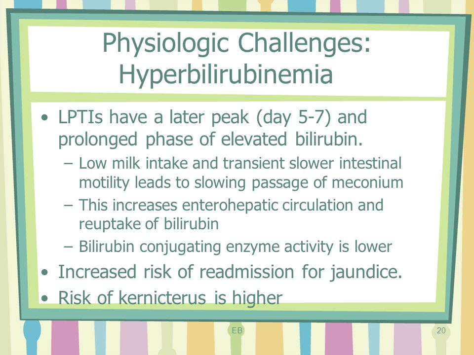 Physiologic Challenges: Hyperbilirubinemia LPTIs have a later peak (day 5-7) and prolonged phase of elevated bilirubin. –Low milk intake and transient