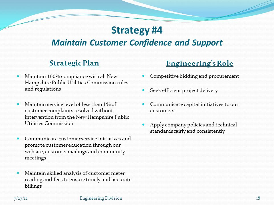 Strategy #4 Maintain Customer Confidence and Support Strategic Plan Engineering's Role Maintain 100% compliance with all New Hampshire Public Utilities Commission rules and regulations Maintain service level of less than 1% of customer complaints resolved without intervention from the New Hampshire Public Utilities Commission Communicate customer service initiatives and promote customer education through our website, customer mailings and community meetings Maintain skilled analysis of customer meter reading and fees to ensure timely and accurate billings Competitive bidding and procurement Seek efficient project delivery Communicate capital initiatives to our customers Apply company policies and technical standards fairly and consistently 7/27/12Engineering Division18