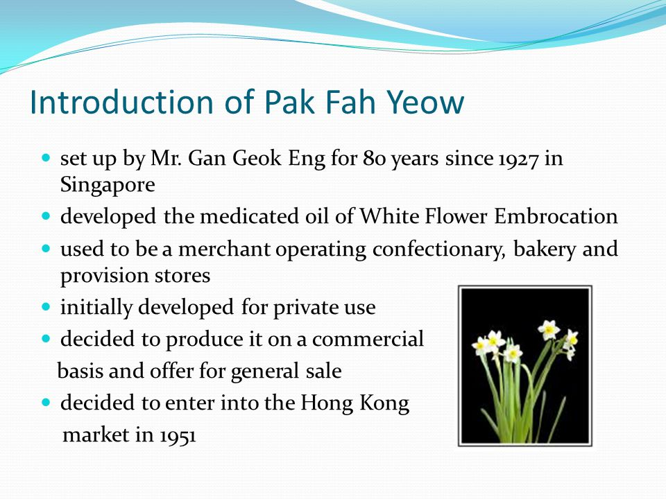 Introduction of Pak Fah Yeow set up by Mr.