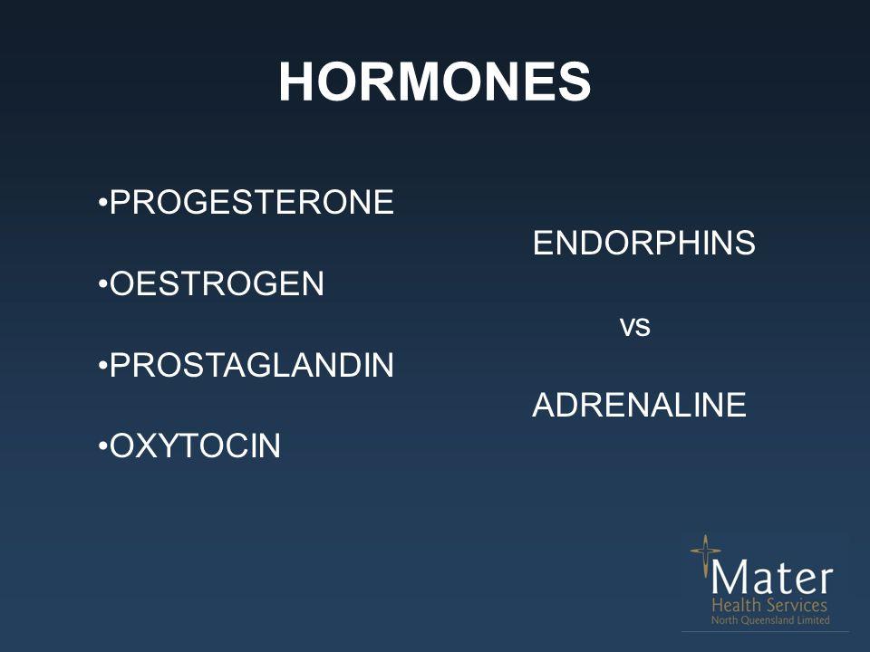 HORMONES PROGESTERONE ENDORPHINS OESTROGEN vs PROSTAGLANDIN ADRENALINE OXYTOCIN