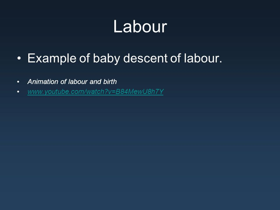 Labour Example of baby descent of labour. Animation of labour and birth www.youtube.com/watch?v=B84MewU8h7Y