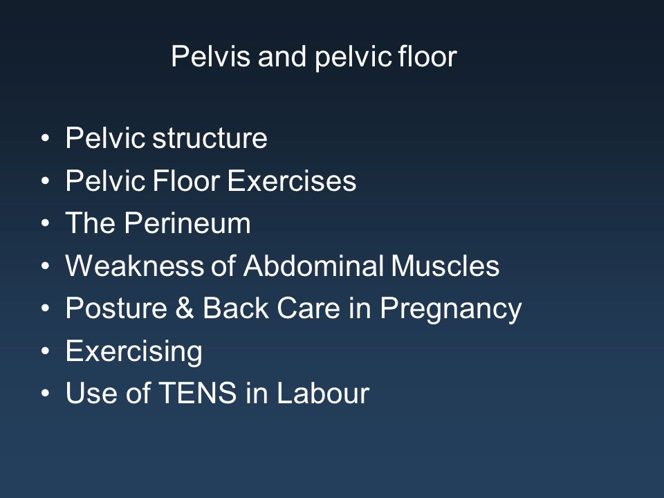 Pelvic structure Pelvic Floor Exercises The Perineum Weakness of Abdominal Muscles Posture & Back Care in Pregnancy Exercising Use of TENS in Labour P