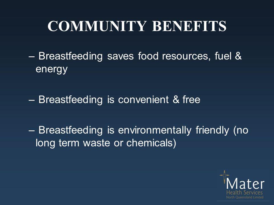 COMMUNITY BENEFITS – Breastfeeding saves food resources, fuel & energy – Breastfeeding is convenient & free – Breastfeeding is environmentally friendl