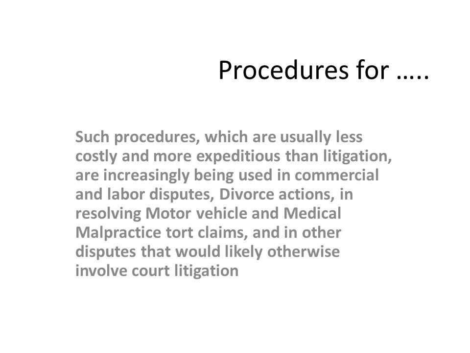 Procedures for …..