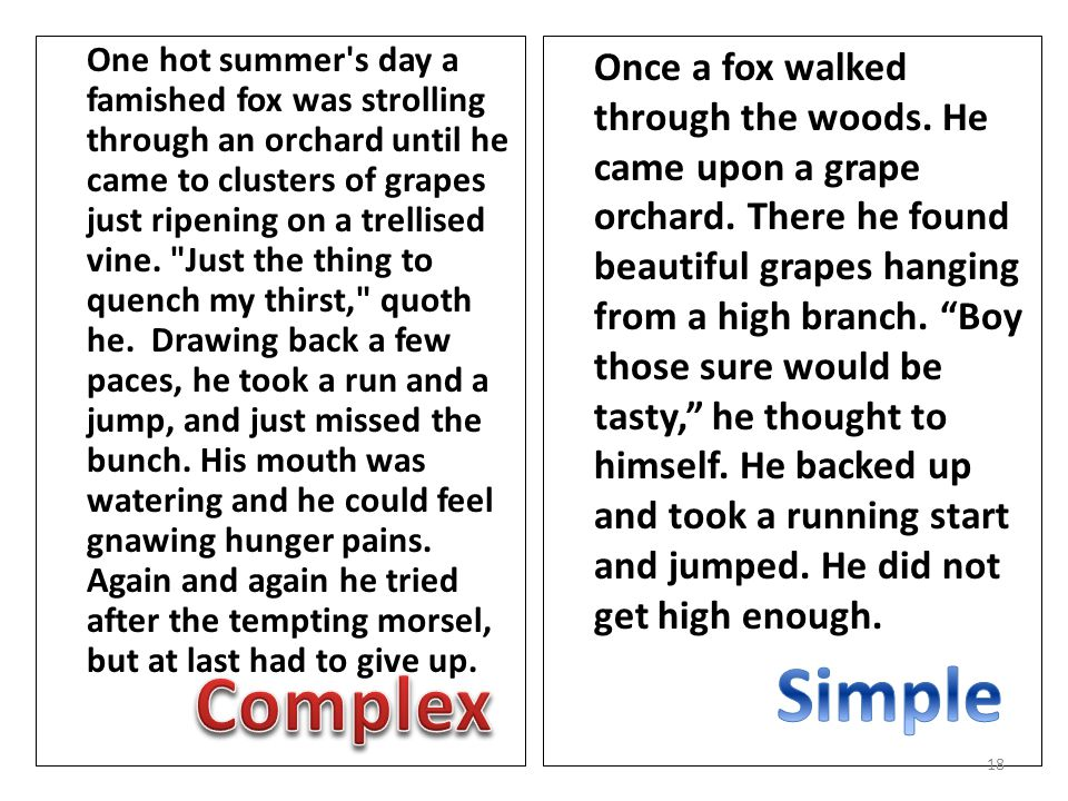 One hot summer s day a famished fox was strolling through an orchard until he came to clusters of grapes just ripening on a trellised vine.