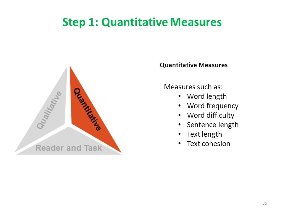 Step 1: Quantitative Measures 35 Measures such as: Word length Word frequency Word difficulty Sentence length Text length Text cohesion Quantitative Measures