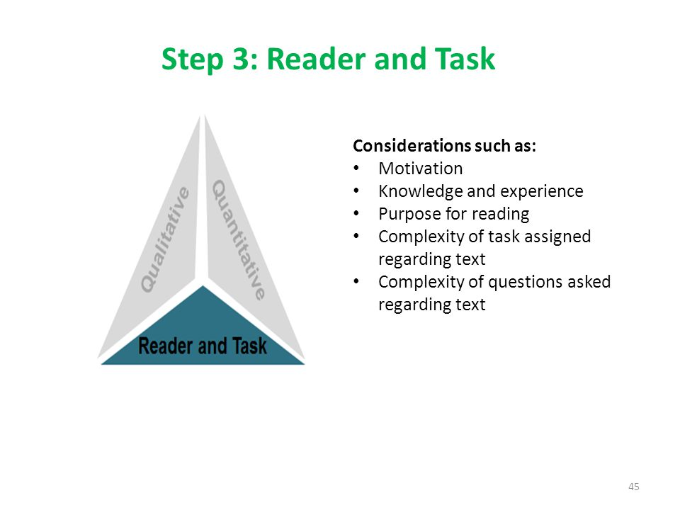 Step 3: Reader and Task Considerations such as: Motivation Knowledge and experience Purpose for reading Complexity of task assigned regarding text Complexity of questions asked regarding text 45