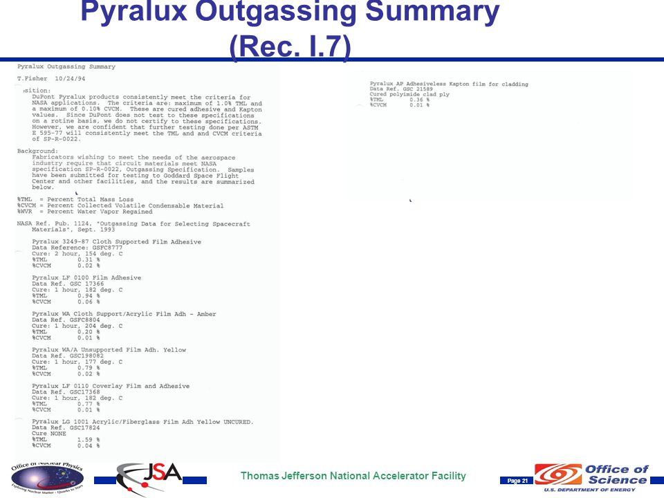 Thomas Jefferson National Accelerator Facility Page 21 Pyralux Outgassing Summary (Rec. I.7)