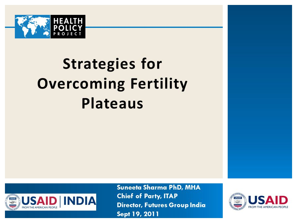Strategies for Overcoming Fertility Plateaus Suneeta Sharma PhD, MHA Chief of Party, ITAP Director, Futures Group India Sept 19, 2011